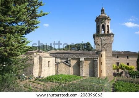 church crucifix in El puente de la Reina.Navarra.Spain.Romanesque. St. James Way. - stock photo