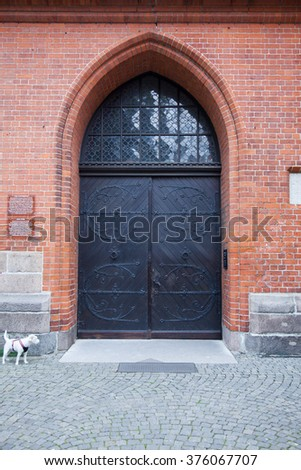 Church entry door in Lubeck, Germany - stock photo