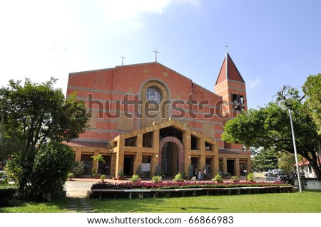 Church exterior Cathedral Sacred Heart College. Church a religious ceremony.Chiang Mai, Thailand. - stock photo