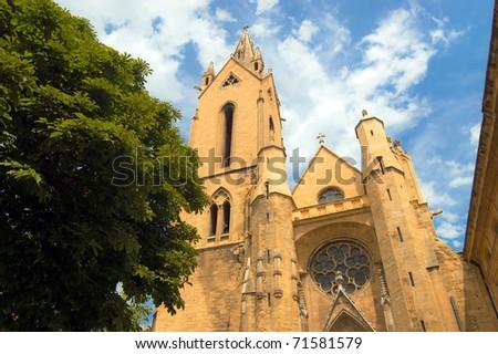 Church facade of Sant Jean de Malte in Aix-en-Provence - stock photo