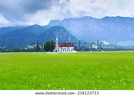 Church in Bavarian Alps, Germany - stock photo