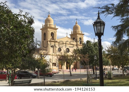 Church in Cafayate city in Salta province, northern Argentina - stock photo