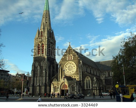 Church in christchurch (new zealand) - stock photo