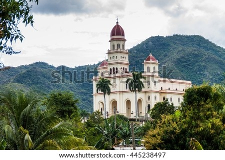 Church in El Cobre village, Cuba - stock photo