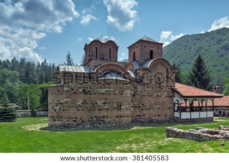 Church in Poganovo Monastery of St. John the Theologian and Erma River Gorge, Serbia - stock photo