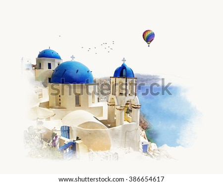 Church in Santorini, Greece. Watercolor sketch. Graphics on old paper. - stock photo