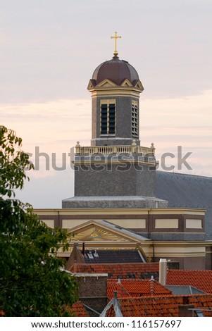 Church in sunset - stock photo