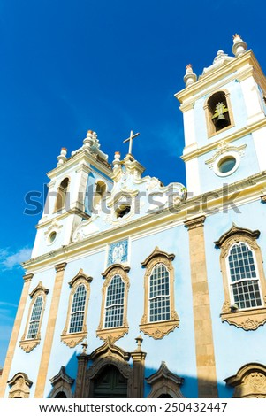 Church in the historic centre of Salvador, Brazil - stock photo