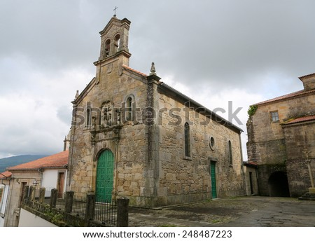 Church in the historical quarter of Tui, a border town with Portugal in the region of Galicia, Spain. - stock photo