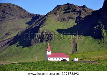 Church in Vik, Little Town in Southern Iceland - stock photo