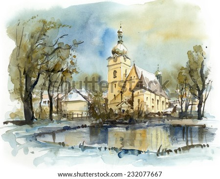 Church in winter, watercolor illustration - stock photo