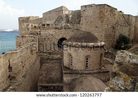 Church inside fortress in Girne, North Cyprus - stock photo