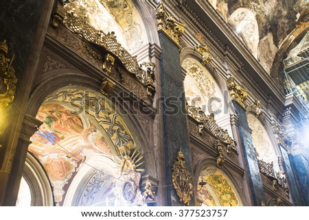 Church interior. Christian religion architecture. Religious catholic old cathedral inside. Christianity faith building indoor. Saints Peter and Paul Garrison Church (Lviv), 24.08.2015 - stock photo