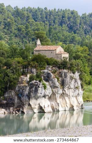 church near Pont Mirabeau, Provence, France - stock photo