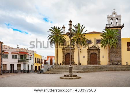 Church Nuestra Senora de los Angeles and old Franciscan Convent in the main square of Garachico. Tenerife, Canary Islands, Spain - stock photo