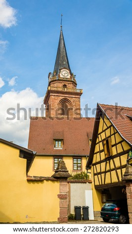 Church of Assumption of the Blessed Virgin Mary in Bergheim - France - stock photo