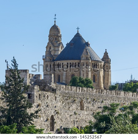 Church Of Dormition And Armenian Cemetery On Mount Zion - Israel - stock photo