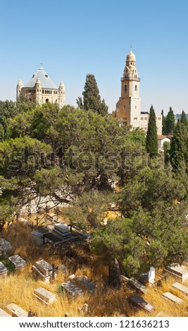 Church of  Dormition and Armenian Cemetery on Mount Zion, Jerusalem - stock photo