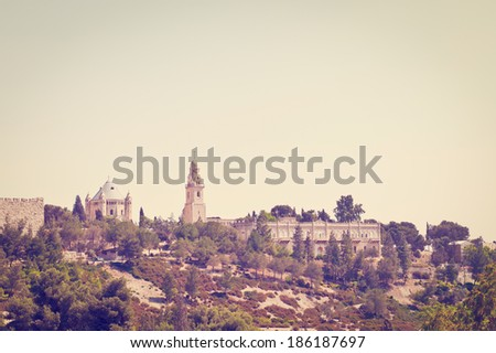 Church of  Dormition on Mount Zion, Instagram Effect - stock photo