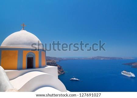 Church of Fira town at Santorini island, Greece - stock photo