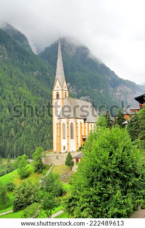 Church of Heiligenblut near the Grossglockner High Alpine Road, Austria - stock photo
