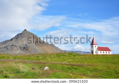 Church of Hellnar, Iceland - stock photo