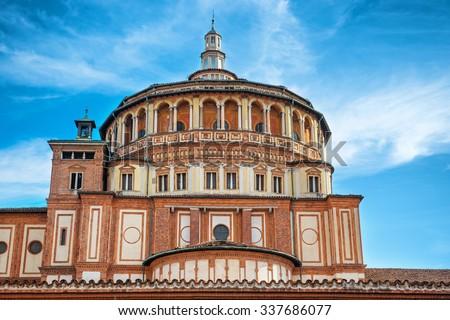 """Church of Holy Mary of Grace- Chiesa di Santa Maria delle Grazie, 1497, Milan, Italy, home of the famous """"Cenacolo"""" from Leonardo da Vinci. - stock photo"""