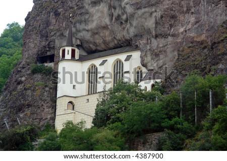 church of idar oberstein in the mountain - stock photo