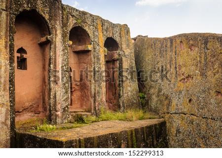 Church of Lalibela, Ethiopia, Africa  Lalibela famous for its monolithic rock-cut churches. - stock photo