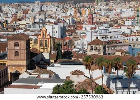 Church of monastery and city. Malaga, Spain  - stock photo