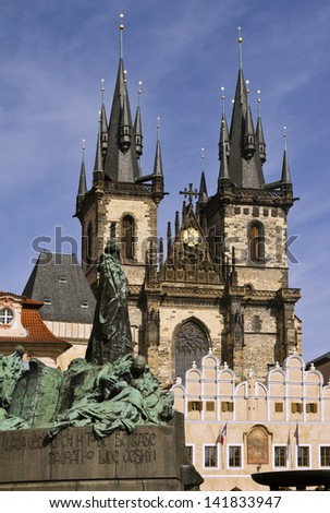 Church of Our Lady before Tun and Jan Hus statue, from Old Town Square Prague  - stock photo
