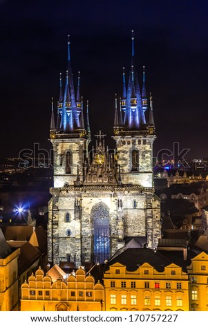 Church of Our Lady before Tyn in evening in Prague, Czech Republic. Church with towers height of 80 meters is a dominant feature of the Old Town of Prague. - stock photo