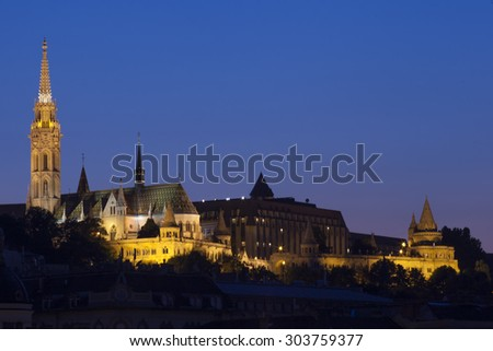 Church of our lady in budapest / panorama of budapest - stock photo
