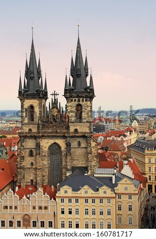 Church of Our Lady in front of Tyn in Prague - stock photo