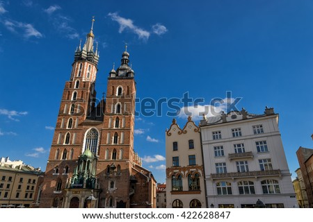 Church of our lady in Krakow - stock photo