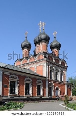 Church of Our Lady of Bogolyubovo (with a refectory). High Monastery of St Peter in Moscow, Russia - stock photo