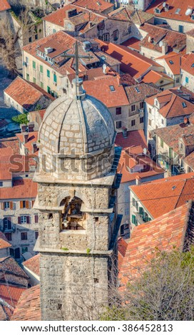 Church of Our Lady of Health in the old walled port city of Kotor, Montenegro - stock photo