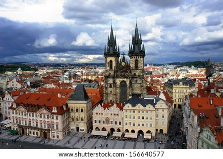 Church of our Lady - Tyn Church in old town of Prague, Czech Republic - stock photo