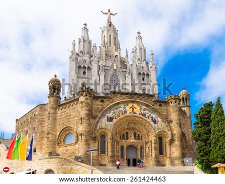 Church of Sacred Heart of Jesus on Tibidabo in Barcelona, Spain - stock photo