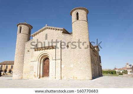 Church of Saint Martin located in Fromista, Palencia  (Castile and Leon, Spain). It was built in the 11th century in Romanesque style, it is located across the Way of Santiago. - stock photo