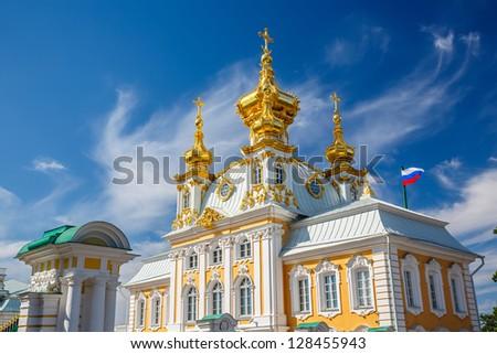 Church of Saints Peter and Paul in Peterhof, St Petersburg, Russia - stock photo