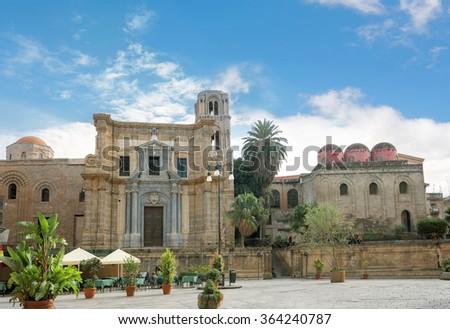Church of San Cataldo and Martorana church. Palermo, Sicily, Italy. - stock photo