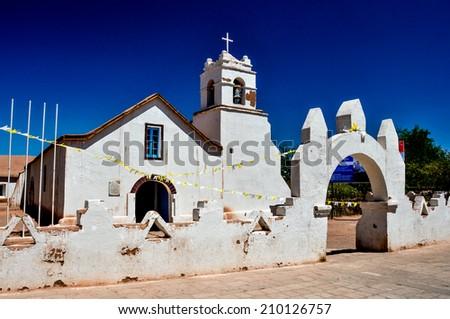 Church of San Pedro de Atacama, Chile. - stock photo