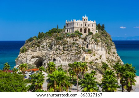 Church of Santa Maria located on the cliff near the town of Tropea, Italy - stock photo
