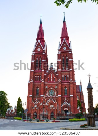 Church of St. Jacob in Sveksna town, Lithuania. The architect of this church was Karlas Eduardas Strandmanas. Construction Engineer  Anzelis from Riga, built in 1900. - stock photo