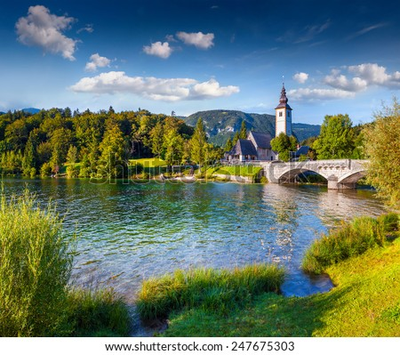 Church of St John the Baptist, Bohinj Lake, Triglav National Park, Julian Alps, Slovenia - stock photo