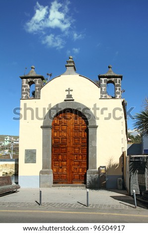 Church of St Michael (Ermita de San Miguel) built in 1506. San Cristóbal de La Laguna, in the Canary Islands, Tenerife, Spain, World Heritage Site by UNESCO. - stock photo
