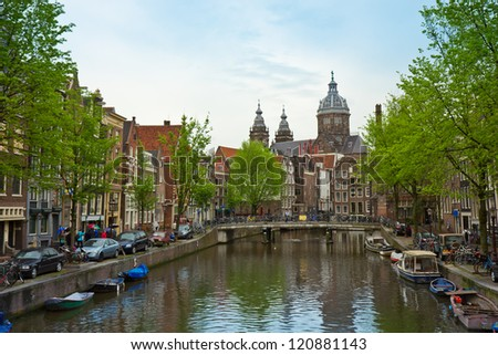 Church of St Nicholas, old town canal, Amsterdam, Netherland - stock photo