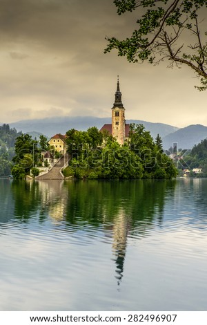 Church of the Assumption in Lake Bled, Slovenia - stock photo