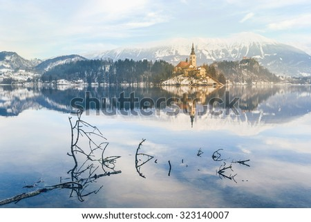Church of the Assumption on the island in lake Bled-Slovenia - stock photo